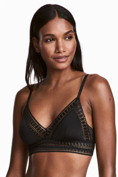 Soft microfibre and lace bra - Black - Ladies | H&M CN 1
