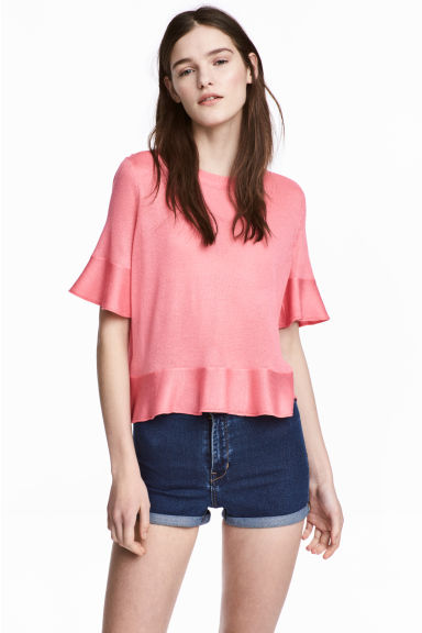 Flounced top - Pink - Ladies | H&M