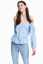 Off-Shoulder-Bluse - Hellblau/Schmal gestreift - DAMEN | H&M CH 2