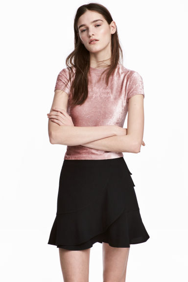 Flounced wrap skirt - Black - Ladies | H&M 1