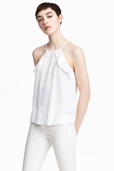 Frilled strappy top - White - Ladies | H&M
