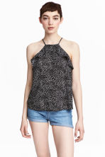 Frilled strappy top - Black/White/Patterned - Ladies | H&M CN 1