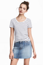 Jersey top - White/Black striped - Ladies | H&M CN 2