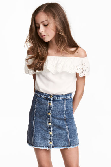 Off-the-shoulder blouse - White - Kids | H&M 1