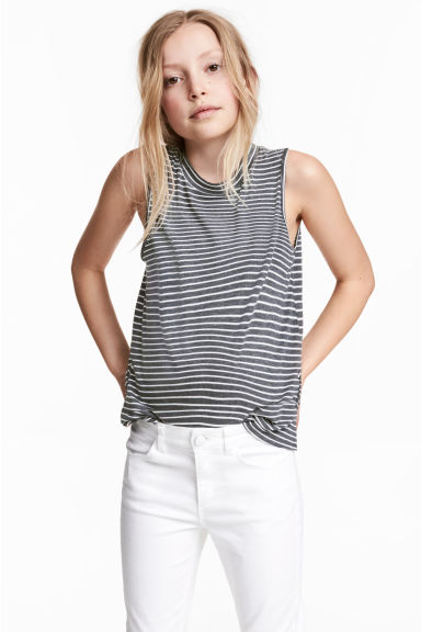 Sleeveless top - Dark grey/Striped - Kids | H&M CN 1