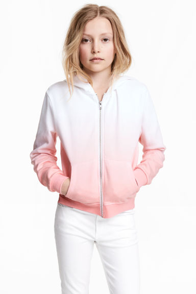 Sweat à capuche zippé - Blanc/rose - ENFANT | H&M FR 1