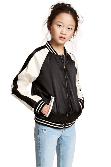 Embroidered baseball jacket - Black - Kids | H&M CN 1