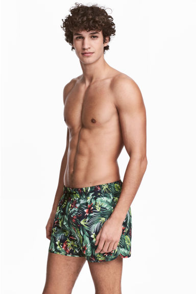 Short swim shorts - Dark blue/Floral - Men | H&M CN 1