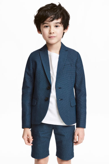 Textured-weave blazer - Dark blue/Spotted -  | H&M 1