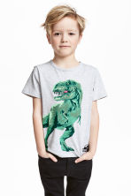 Printed T-shirt - Light grey/Jurassic World - Kids | H&M 1
