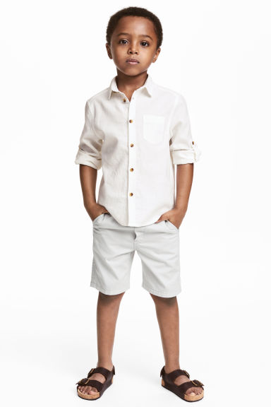 Twill shorts - Light grey - Kids | H&M 1