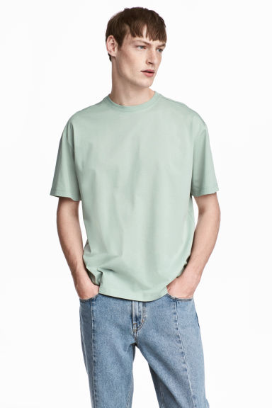 Mercerised cotton T-shirt - Dusky green - Men | H&M CA
