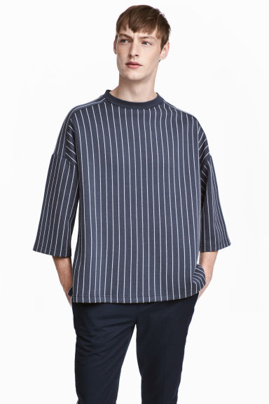 Oversized T-shirt - Dark blue/Striped - Men | H&M CN 1