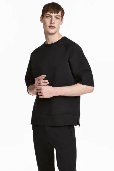 Short-sleeved scuba sweatshirt - Black - Men | H&M 1
