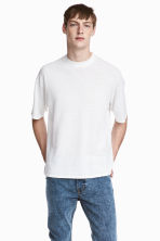 Fine-knit linen-blend T-shirt - White - Men | H&M CN 1