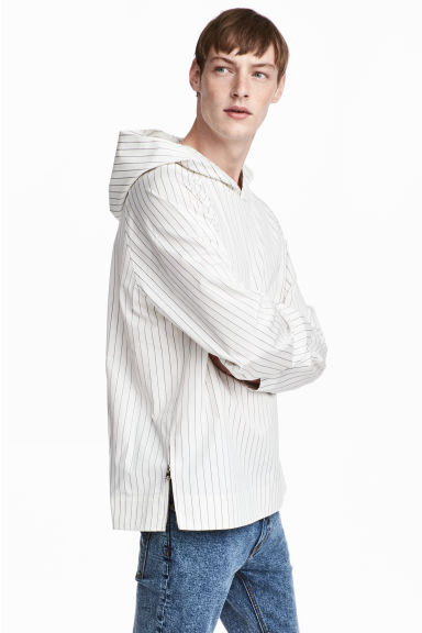 Pinstriped hooded top - White/Striped - Men | H&M CA 1
