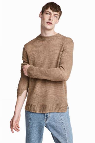 Knitted linen jumper - Dark beige - Men | H&M CN 1