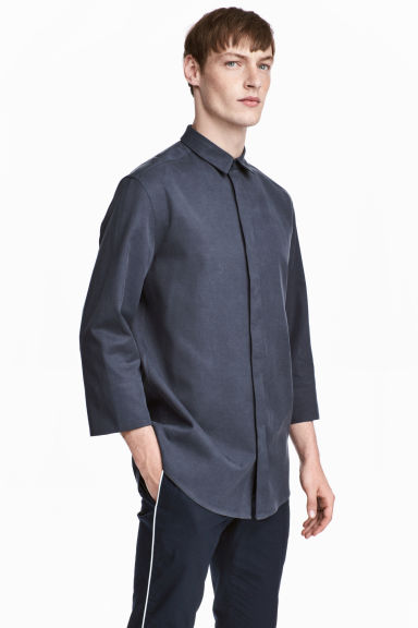 Lyocell-blend shirt - Dark grey-blue - Men | H&M 1
