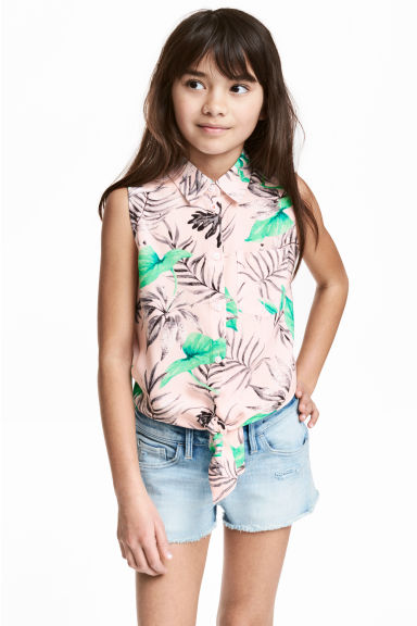 Tie-front blouse - Light pink/Patterned - Kids | H&M CN 1
