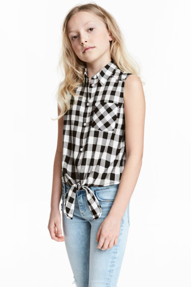 Tie-front blouse - Black/White/Checked - Kids | H&M CN 1