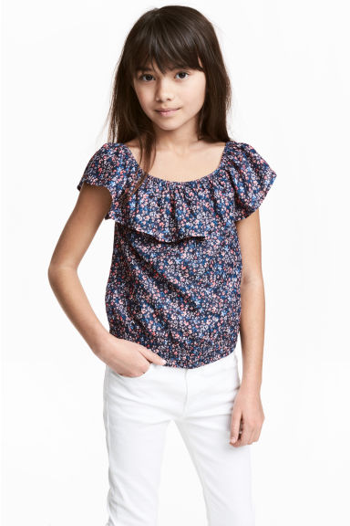 Off-the-shoulderbloes - Donkerblauw/bloemen -  | H&M BE