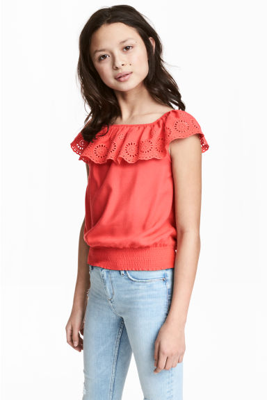 Off-the-shoulder blouse - Coral red - Kids | H&M