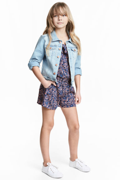 Playsuit with frills - Dark blue/Floral - Kids | H&M