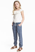 Patterned trousers - Dark blue/White -  | H&M 1