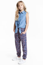 Patterned trousers - Dark blue/Floral -  | H&M 1