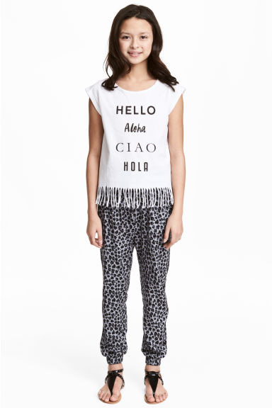Patterned trousers - Grey/Leopard print -  | H&M 1