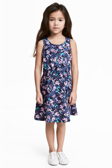 Jersey dress - Dark blue/Floral -  | H&M 1