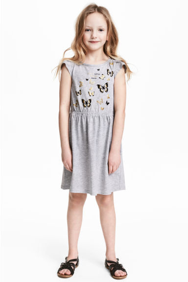Printed jersey dress - Grey/Butterflies -  | H&M CN