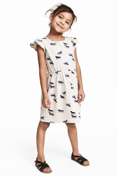 Printed jersey dress - Light beige/Horses - Kids | H&M
