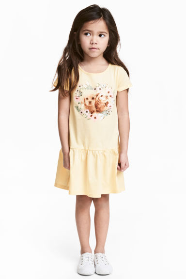 Jersey dress - Light yellow/Dogs - Kids | H&M