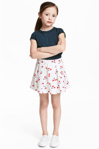 Pleated jersey skirt - White/Cherry -  | H&M
