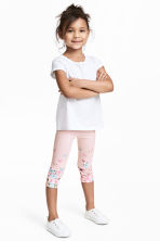 Jersey leggings - Light pink/Butterflies -  | H&M 1