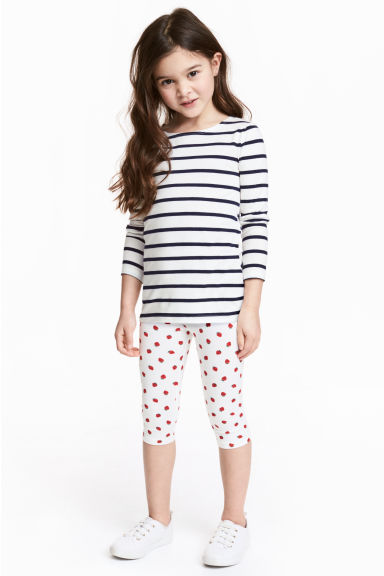 Jersey leggings - White/Strawberries -  | H&M