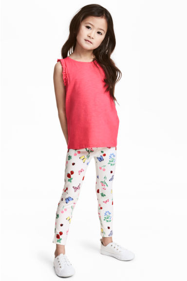 Treggings - White/Strawberries - Kids | H&M CN 1