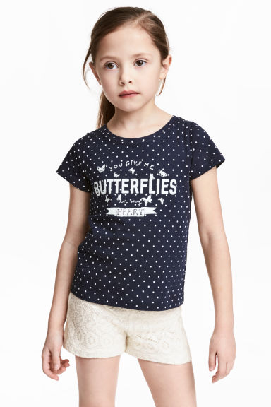 Printed top - Dark blue/Spotted - Kids | H&M CN
