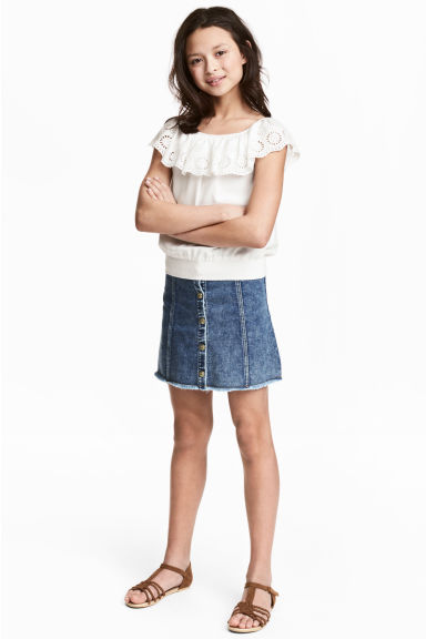 A-line skirt - Blue washed out -  | H&M CN 1