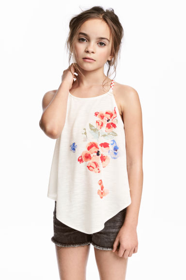 Printed strappy top - White/Floral - Kids | H&M CN 1