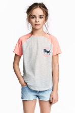 Printed top - Light grey/Unicorn -  | H&M 1