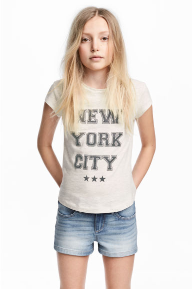 Printed jersey top - Light beige/New York - Kids | H&M CN