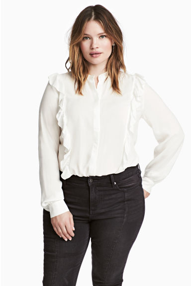 H&M+ Frilled blouse - White -  | H&M 1