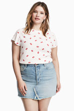 H&M+ Patterned top - White/Lips - Ladies | H&M CN 1