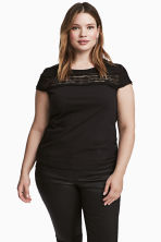 H&M+ Top with a lace yoke - Black - Ladies | H&M 1