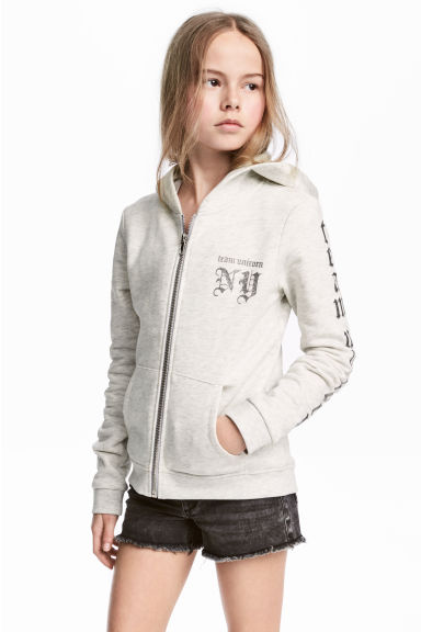Hooded jacket - Light beige marl -  | H&M 1