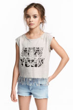 Fringed top - Light beige/New York -  | H&M CA 1