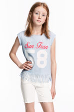 Fringed top - Light blue marl - Kids | H&M CN 1