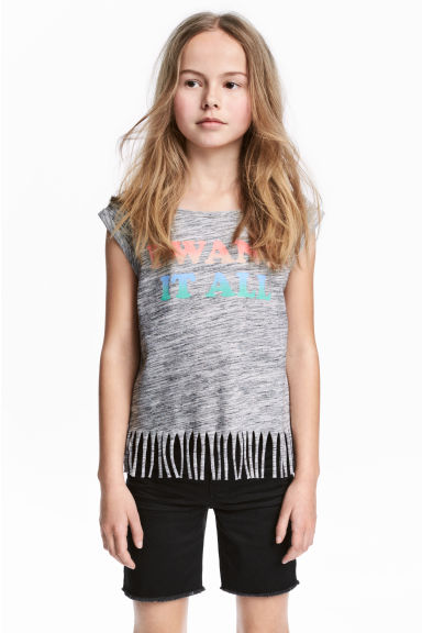 Fringed top - Grey marl -  | H&M 1